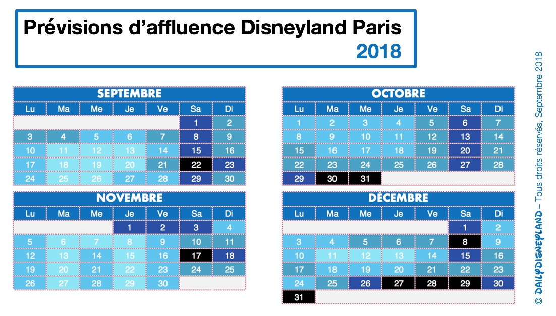 calendrier previsions affluence disneyland paris hiver 2018 2019 disney