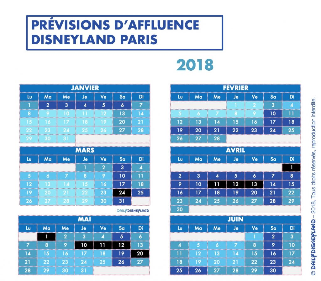 prévisions affluence disneyland paris 2018 janvier février mars avril mai juin