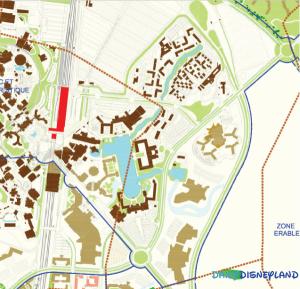 Futures extensions du Disney Village et des hôtels (en marron clair) ©Disney Gazette