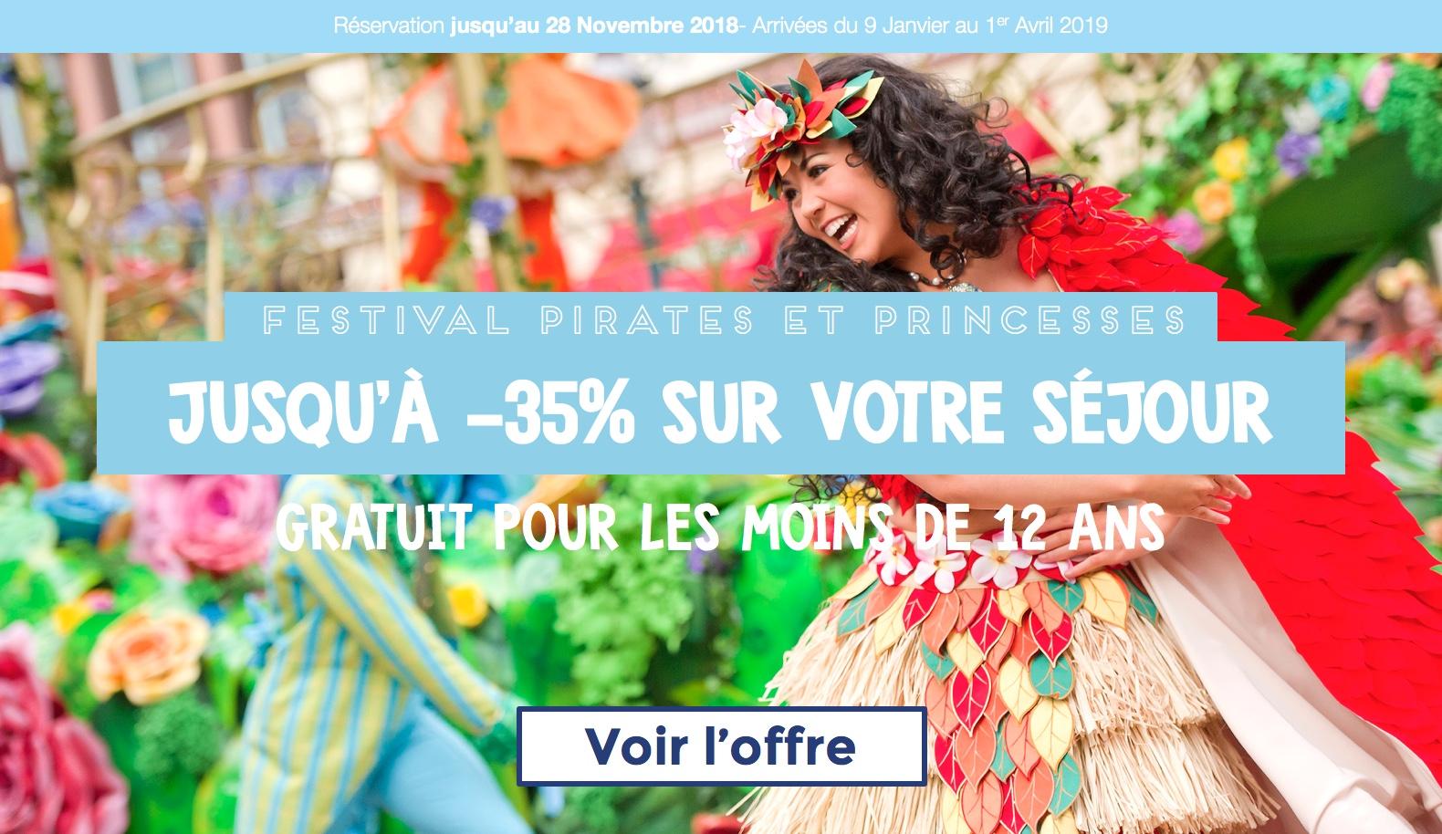 sejour disneyland paris pas cher noel disney noel enchante disneyland promo sejour carte cadeau offerte festival pirates princesses janvier fevrier mars 2019